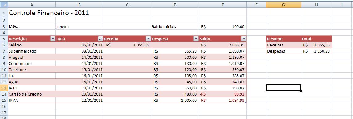 Controle Financeiro 10