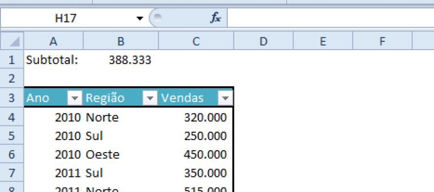 Microsoft Excel – Função SUBTOTAL