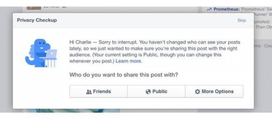Facebook alerta usuários sobre privacidade na rede
