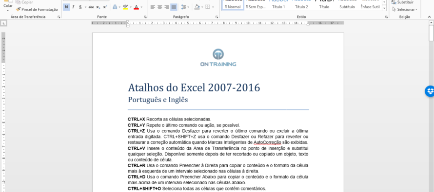 Atalhos do Excel 2007-2016